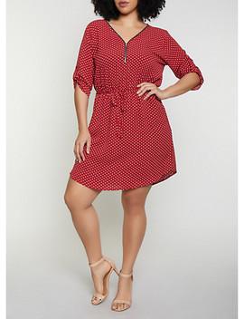 Plus Size Half Zip Polka Dot Dress by Rainbow
