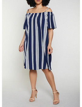 Plus Size Off The Shoulder Striped Shift Dress by Rainbow