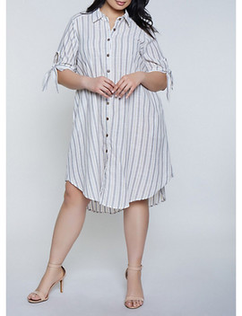 Plus Size Striped Tie Sleeve Linen Shirt Dress by Rainbow