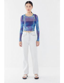 3681034157e8a2 Shoptagr | Uo Nebula Tie Dye Mesh Cropped Top by Urban Outfitters