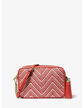 Ginny Medium Woven Leather Crossbody by Michael Michael Kors