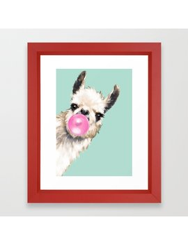 Bubble Gum Sneaky Llama In Green Framed Art Print by Society6