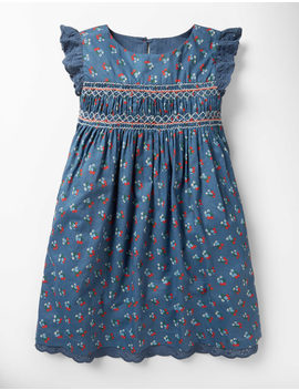 nostalgic-smocked-dress---lagoon-blue-vintage-posy by boden