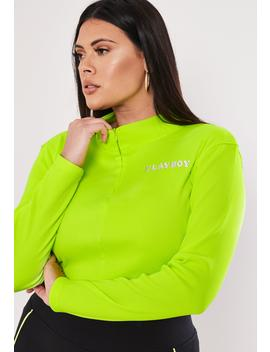 Playboy X Missguided Plus Size Lime Ribbed Crop Top by Missguided