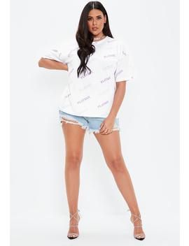 Playboy X Missguided Plus Size White Repeat Print T Shirt by Missguided