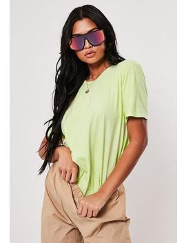 neon-lime-washed-basic-t-shirt by missguided