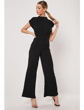 Black Belted Flare Leg Jumpsuit by Missguided