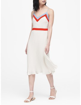 Petite Color Block Pleated Midi Dress by Banana Repbulic