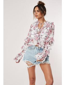 Pink Floral Long Sleeve Blouse by Missguided