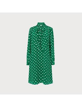 Evia Green Polka Dot Silk Dress by L.K.Bennett