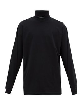 Collar Embroidered Roll Neck Jersey Top by Vetements