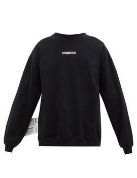 Backwards Logo Jersey Sweatshirt by Vetements