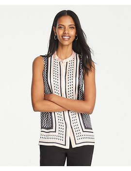 Petite Geo Striped Sleeveless Button Down Top by Ann Taylor