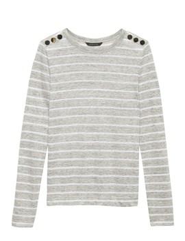 Linen Button Shoulder T Shirt by Banana Repbulic