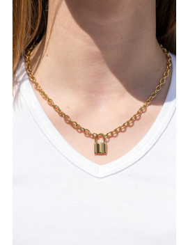 Gold Lock Chain Necklace by Brandy Melville
