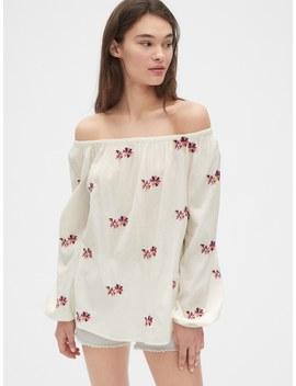 Floral Embroidered Off Shoulder Blouse by Gap