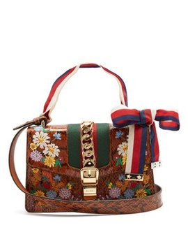 Floral Embroidered Watersnake Shoulder Bag by Gucci