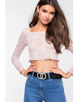 Lace Square Neck Crop Top by A'gaci