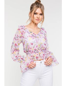 Floral Cinched Waist V Neck Peplum Top by A'gaci