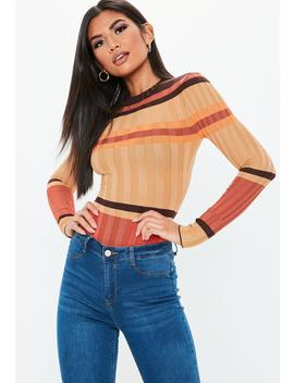 Camel Striped Extreme Ribbed Knitted Bodysuit by Missguided