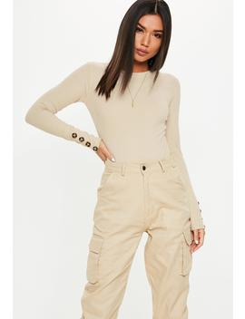 Sand Crew Neck Button Sleeve Bodysuit by Missguided