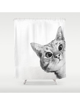 Sneaky Cat Shower Curtain by Society6