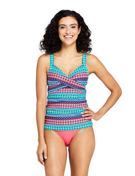35871c8631969 LANDS' END. Women's DDD-Cup Wrap Underwire Tankini Top Swimsuit Print