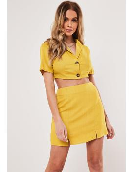 Yellow Co Ord Linen Tortoise Shell Button Cropped Shirt by Missguided