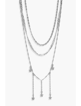 Star Drop Layered Necklace by Boohoo
