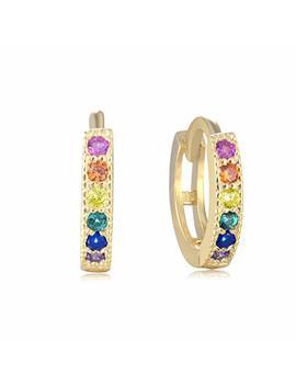 Rainbow Huggie Hoops   18k Gold Over 925 Sterling Silver Cubic Zirconia Cz Earrings For Women by Lemondrop