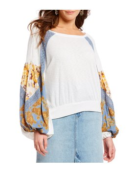Casual Clash Knit Drop Shoulder Balloon Sleeve Patchwork Print Top by Free People
