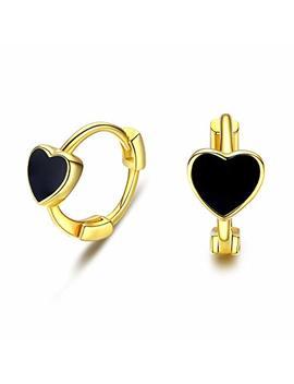 Cuoka Miracle Heart Small Hoop Earrings, Gold Plated 925 Sterling Silver Black Heart Huggie EarringsHypoallergenic Earrings Cute Cartilage Earrings Gift For Women Teen by Cuoka Miracle