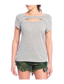 June Cut Out Boat Neck Short Sleeve Tee Top by Free People