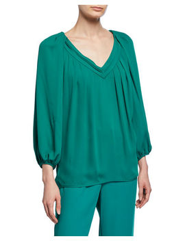 Cahil Pleated Balloon Sleeve Top by Diane Von Furstenberg