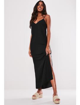 Petite Black Split Leg Maxi Dress by Missguided