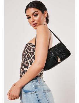 Black Croc Shoulder Bag by Missguided