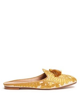 Fez Tasselled Embroidered Mules by Aquazzura