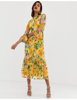 011d5ba6d23 Asos Edition Embroidered And Beaded Midi Dress With Peplum Hem by Asos  Edition
