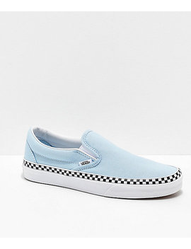 Vans Slip On Check Foxing Blue &Amp; White Skate Shoes by Vans