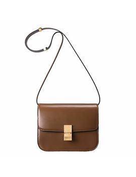 Luckysgy Women Crossbody Bag Genuine Leather Handbag Classic Box Bag Messager Purse by Luckysgy