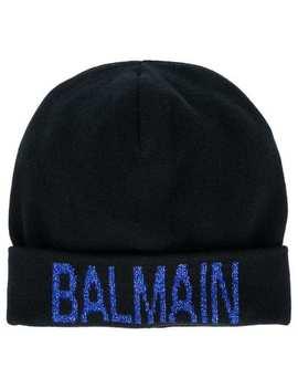 Glitter Logo Beanie by Balmain