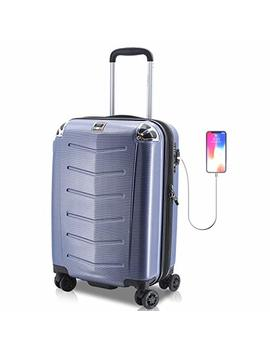 Villagio Hardshell Luggage 21 Inch   Usb Port Polycarbonate 8 Wheel Spinner With Slash Proof Zipper And Tsa Lock (21, Blue) by Villagio