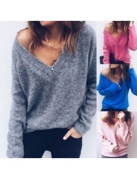 Womens Sexy Slim Knitted V Neck Cashmere Long Sleeve Jumper Pullover Sweaters Uk by Unbranded