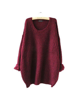 Women Lady Loose Oversized Baggy Chunky Warm Knitted Jumper Top Thick Sweater Au by Unbranded