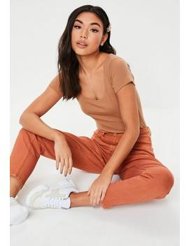 Camel Scoop Cap Sleeve Rib Bodysuit by Missguided