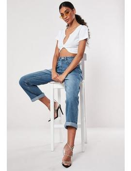 Blue High Rise Turn Up Hem Boyfriend Jeans by Missguided