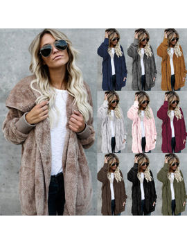 Women Winter Fluffy Ladies Cardigan Coat Top Jacket Hooded Fleece Sweater Jumper by Unbranded