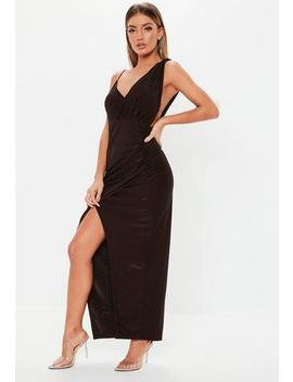 Chocolate Brown Slinky Asymmetric Maxi Dress by Missguided