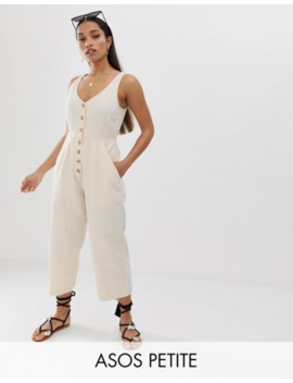 Asos Design Petite Denim Button Through Jumpsuit In Off White by Asos Design