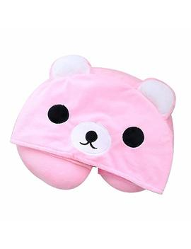 Vopoco Cute Cartoon Animal 2 In 1 U Shaped Neck Pillow With Cute Onesie Cartoon Cap Cozy Travel Cushion Head Stress Relief Airplane Car Office For Warmth And Privacy Funny Gifts (Pink Adorkable Bear) by Vopoco